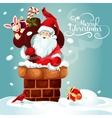 christmas card santa with gift bag on roof vector image vector image