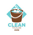 clean your home logo label with bucket isolated vector image