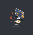 composition on dark background 3d isometric vector image vector image