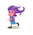 cute boy troll with purple hair and pink skin vector image