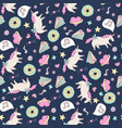 cute seamless unicorn pattern vector image