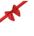 decorative corner - red satin ribbon with bow 3d vector image vector image