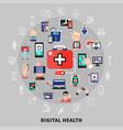 digital health fat symbols circle vector image
