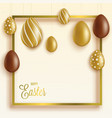 easter card or banner with chocolate and gold egs vector image vector image