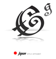 English alphabet in Japanese style - G vector image