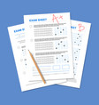exam test sheet composition vector image