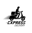 express delivery icon concept scooter motorcycle vector image vector image