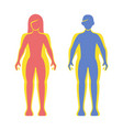fat and slim man and women silhouette set vector image vector image