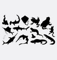 fish and frog silhouette vector image