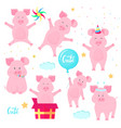 funny pigs having fun cute piglets celebrate vector image vector image