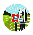 geodetic instruments and green fields symbol vector image vector image