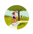 girl riding bicycle up tree circle retro vector image vector image