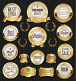 golden retro labels badges frames and ribbons vector image vector image