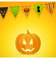 halloween pumpkin with bunting on an orange vector image vector image