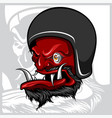 hand drawing devil wearing motorcycle helmet vector image vector image