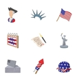 independence day usa icons set cartoon style vector image