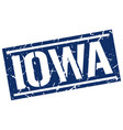 iowa blue square stamp vector image vector image