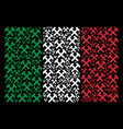 italian flag pattern of hammers items vector image