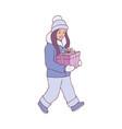kid girl in warm winter vector image vector image