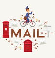 mail box envelope postman deliveryman post vector image