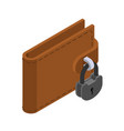 money is protected wallet and padlock lock purse vector image