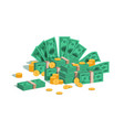 money pile bundle with flying dollars and rolling vector image vector image