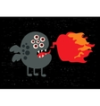 Monster with fire banner vector image vector image