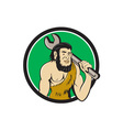 Neanderthal CaveMan With Spanner Circle Cartoon vector image vector image