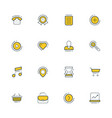 set flat line business icons vector image