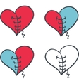 Set of hearts on white background vector image
