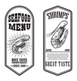set seafood flyers with shrimp design element vector image