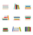set stacks books groups books vector image
