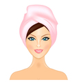 smiling girl with pink towel vector image vector image