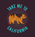 take me to california t-shirt vector image vector image