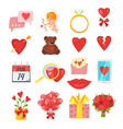 valentines day romantic symbols vector image