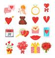 valentines day romantic symbols vector image vector image
