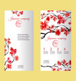 vertical flyer or brochure with cherry blossom or vector image