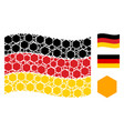 waving germany flag collage of filled hexagon vector image
