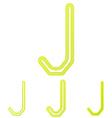 Yellow letter j logo design set vector image vector image