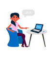 young girl developer have a rest at office vector image vector image