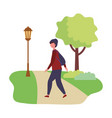 young man standing in the park activity vector image