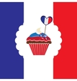 cupcake in french traditional colors vector image