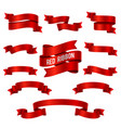 silk red 3d ribbon banners set isolated vector image