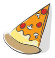 a triangular slice pepperoni and mushroom vector image vector image