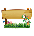 An empty wooden signboard with a playful frog vector image vector image
