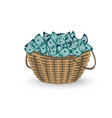 basket full money isolated on white vector image vector image