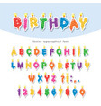 birthday candles colorful font design cutout abc vector image vector image