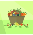 Card with fruits and vegetables in flat style vector image