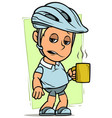 cartoon cyclist boy character with cup coffee vector image vector image