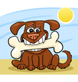 Cartoon Dog with big bone vector image
